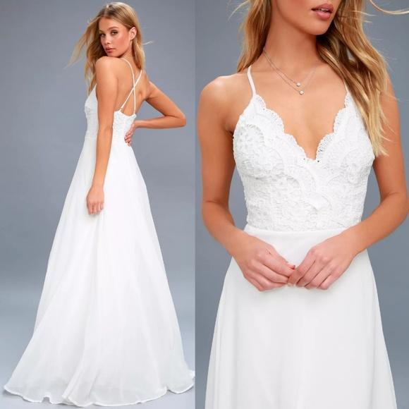 918ae2b481 Lulu's Dresses | Madalyn White Lace Up Beautiful Maxi Dress | Poshmark